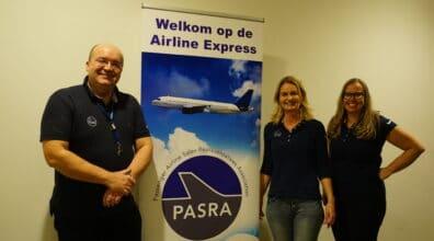 Het bestuur van Pasra, met Marcin van Gijlswijk (LOT Polish Airlines), Marlies Bokx (secretaris) en Margreeth Kappert (Quatar).